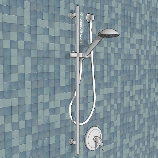 OPTION 3 handheld showerhead slide bar homeability 1 Handheld Showerhead Guide  The Basics com