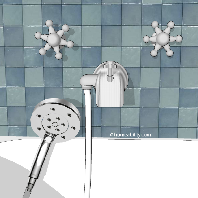 shower head that attaches to bathtub faucet. OPTION 7 handheld showerhead tub diverter valve homeability Handheld Showerhead Guide  The Basics com
